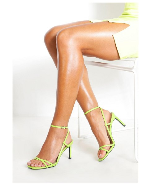 Boohoo Strappy Square Toe Heeled Sandals in lime