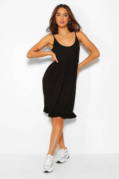 Boohoo Strappy Tiered Smock Dress in black
