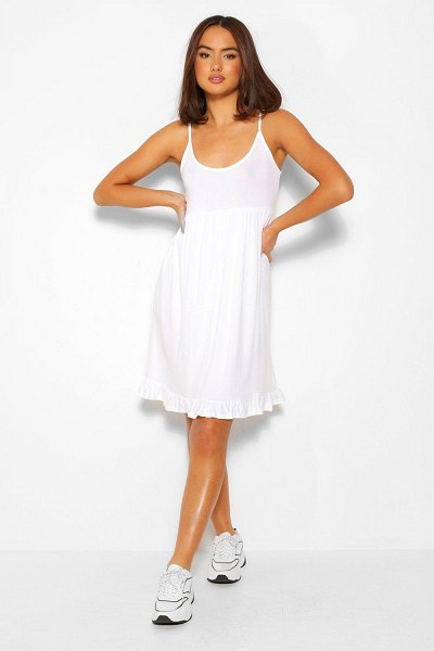 Boohoo Strappy Tiered Smock Dress in white
