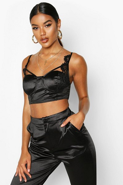 Boohoo Stretch Satin Lace Cupped Bralet in black