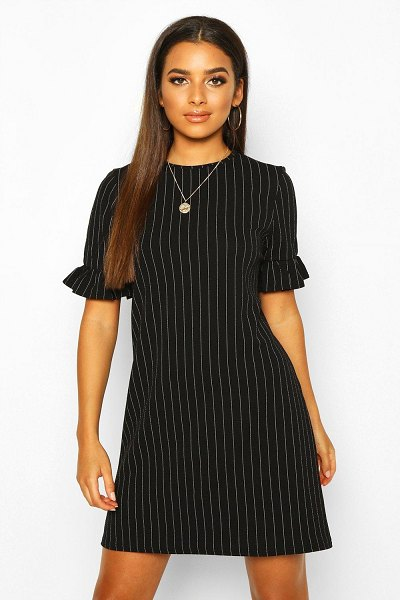 Boohoo Stripe Ruffle Sleeve Smock Dress in black