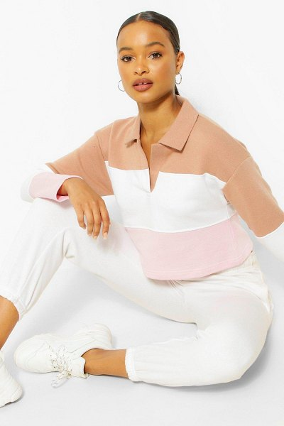 Boohoo Stripe Rugby Top in stone