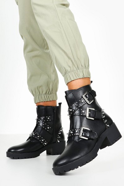 Boohoo Studded Chunky Hiker Boots in black