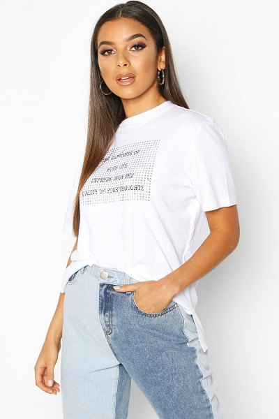 Boohoo Studded Slogan T-Shirt in white