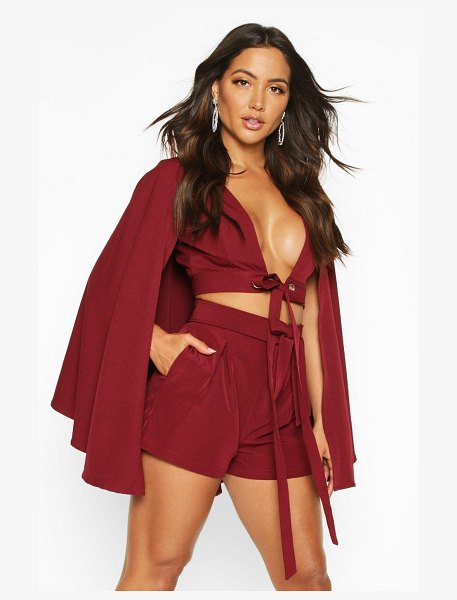 Boohoo Tailored Belted Shorts in burgundy