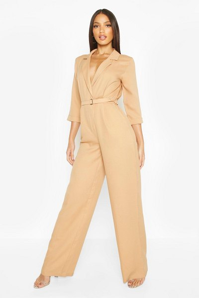 Boohoo Tailored Wide Leg Jumpsuit in stone