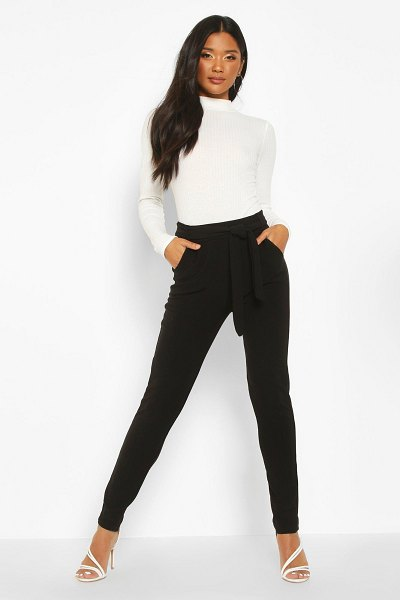 Boohoo Tapered Leg Trouser With Tie Belt And Pocket in black