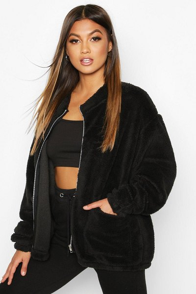 Boohoo Teddy Fur Oversized Jacket in black