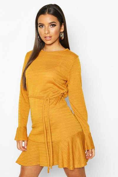 Boohoo Textured Frill Hem Mini Dress in mustard
