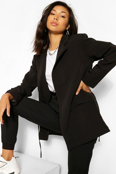Boohoo Tie Belt Longline Blazer in black