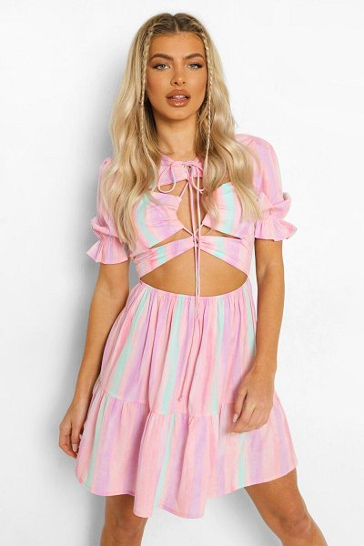 Boohoo Tie Dye Tie Front Cut Out Skater Dress in pink