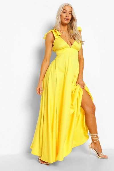 Boohoo Tie Shoulder Plunge Maxi Dress in yellow