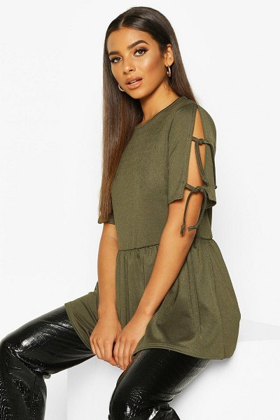 Boohoo Tie Sleeve Detail Smock Top in khaki