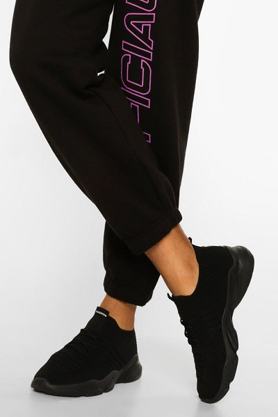 Boohoo Tonal Knitted Sports Trainer in black