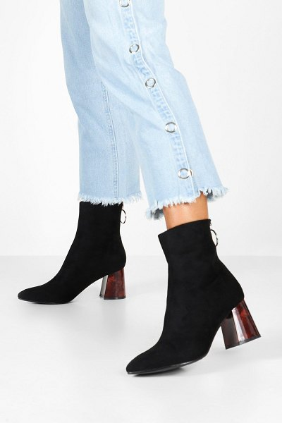 Boohoo Tort Heel Pointed Toe Shoe Boots in black