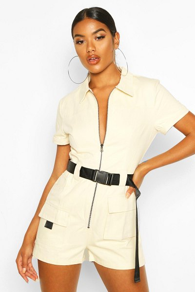 Boohoo Utility Belted romper in stone