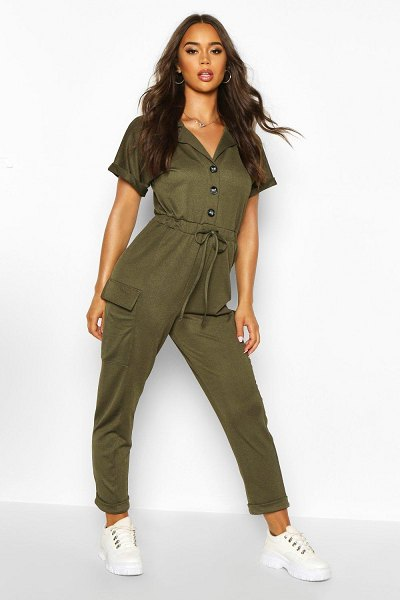 Boohoo Utility Pocket Button Front Jumpsuit in khaki