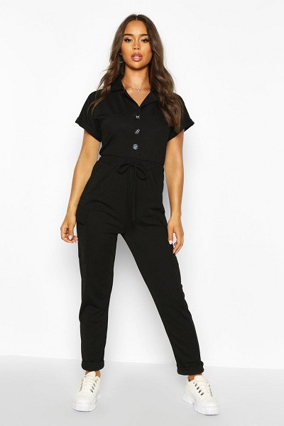 Boohoo Utility Pocket Button Front Jumpsuit in black