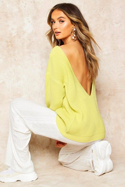 Boohoo V-Back Oversized sweater in soft lime