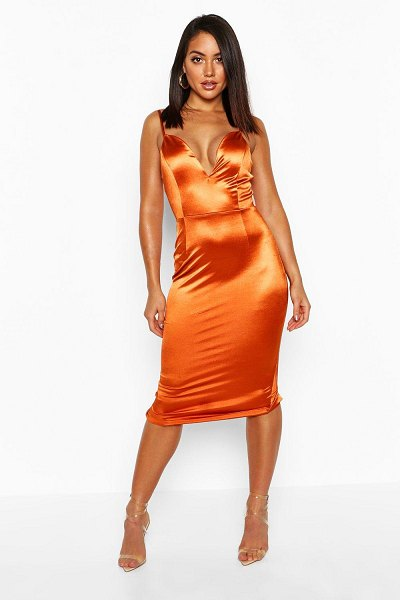 Boohoo V Bar Strappy Midi Stretch Satin Dress in burnt orange