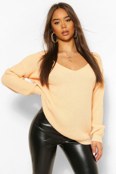 Boohoo V Neck Sweater in apricot