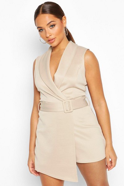 Boohoo V Neck Wrap Over Self Belt Tailored Skort romper in stone