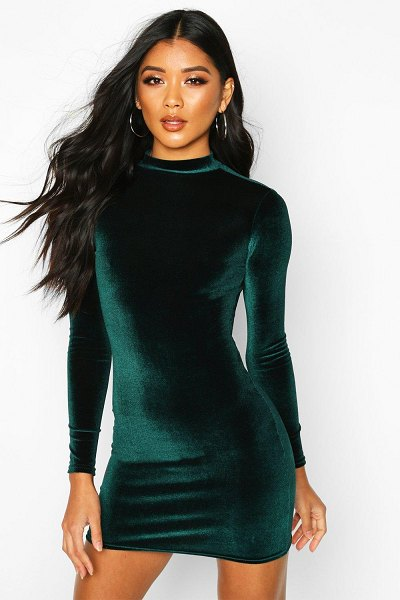 Boohoo Velvet High Neck Bodycon Dress in emerald