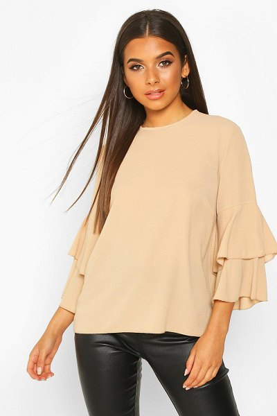 Boohoo Volume Sleeve Tunic Top in stone