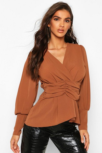 Boohoo Volume Sleeve Wrap Ruched Waist Blouse in rust
