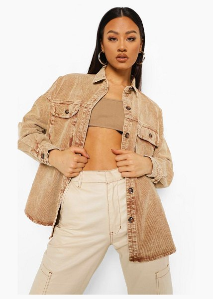 Boohoo Washed Cord Oversized Shirt in stone