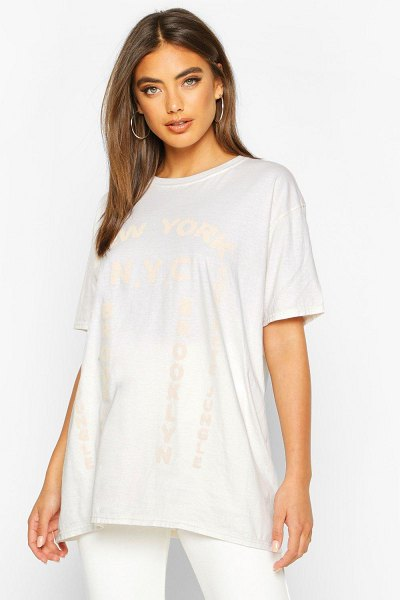 Boohoo Washed New York Graphic Print T-Shirt in ecru