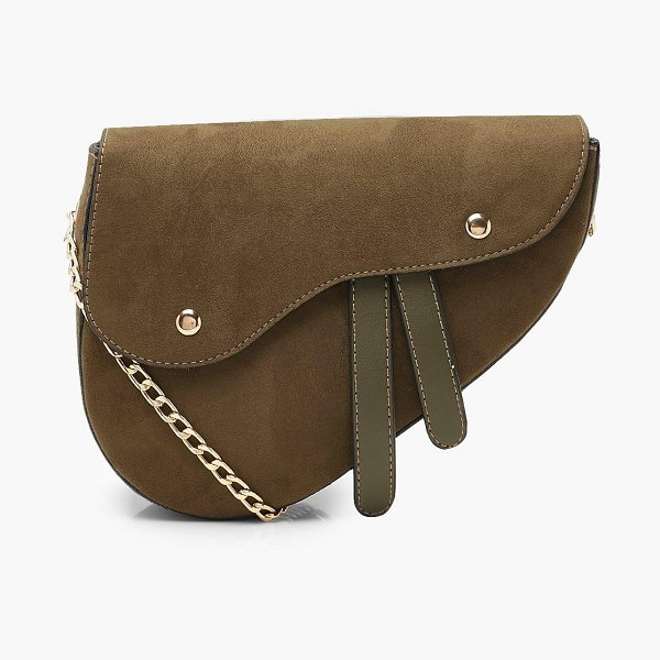 Boohoo Wave Flap Saddle Cross Body Bag in green