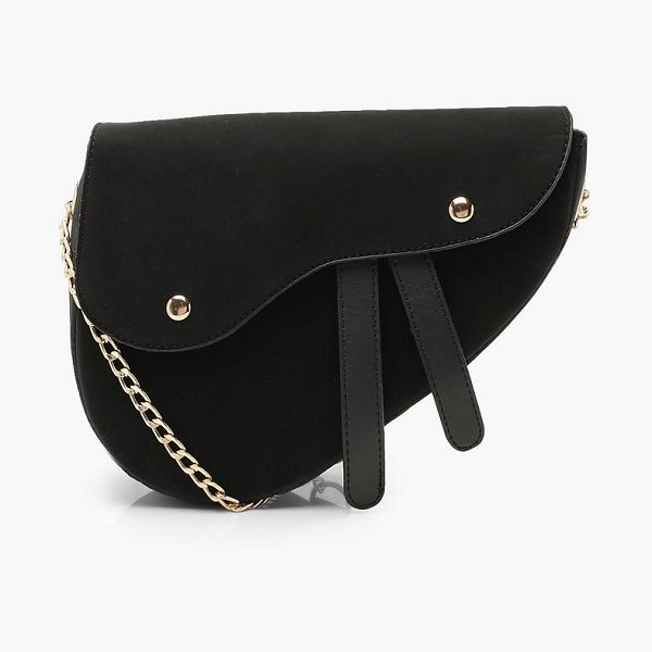 Boohoo Wave Flap Saddle Cross Body Bag in black