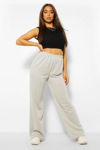 Boohoo Wide Leg Pinstripe Jogger in off white