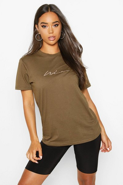 Boohoo Woman Script Embroidered T-Shirt in olive