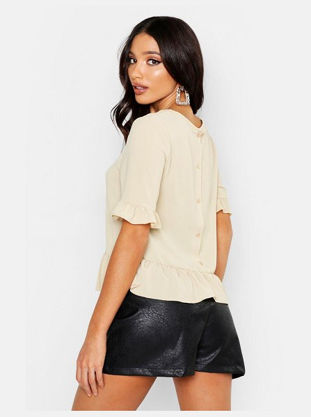 Boohoo Woven Button Back Shell Top in stone