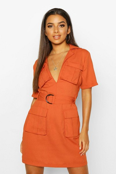 Boohoo Woven Double Pocket Belted Utility Dress in terracotta