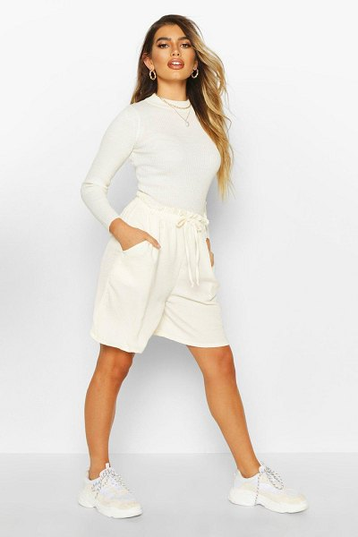 Boohoo Woven Drawstring Shorts in cream