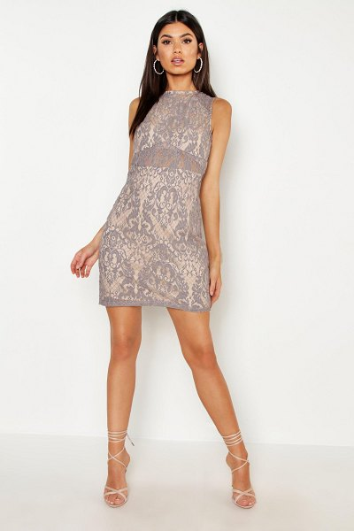 Boohoo Woven Embroidery Lace Bodycon Dress in grey