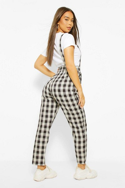 Boohoo Woven Flannel Tapered Leg Pinafore Jumpsuit in black