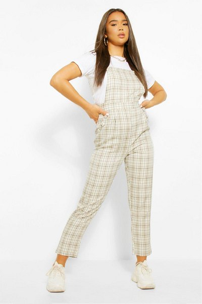 Boohoo Woven Flannel Tapered Leg Pinafore Jumpsuit in ecru