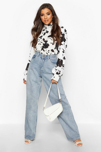 Boohoo Woven Floral High Ride Shirred Blouse in black