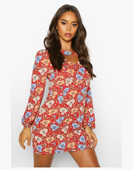 Boohoo Woven Floral Twist Neck Shift Dress in red