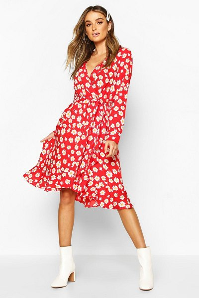 Boohoo Woven Floral Wrap Midi Tea Dress in red
