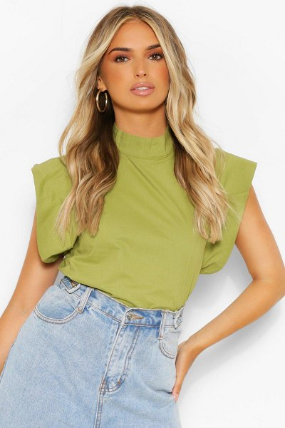 Boohoo Woven High Neck Oversized Shoulder Detail Top in olive