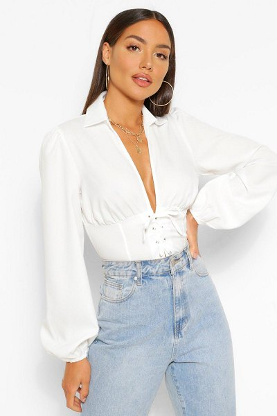 Boohoo Woven Lace Up Corset Top in ivory