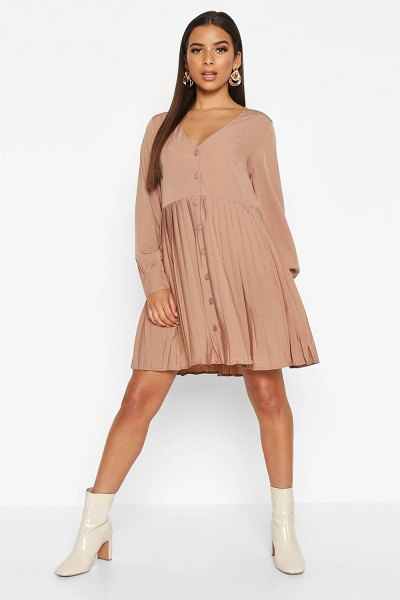 Boohoo Woven Pleated Hem Button Through Smock Dress in stone
