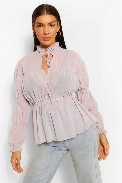 Boohoo Woven Ruched Tie Front Blouse in grey