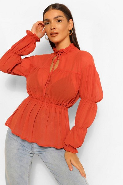 Boohoo Woven Ruched Tie Front Blouse in terracotta