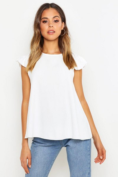 Boohoo Woven Ruffle Shell Top in ivory